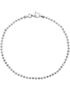 Damen Armband Silberarmband 2mm von Nenalina mit Karabinerverschluss, 925 Sterling Silber diamantiert , Damen-Schmuck...