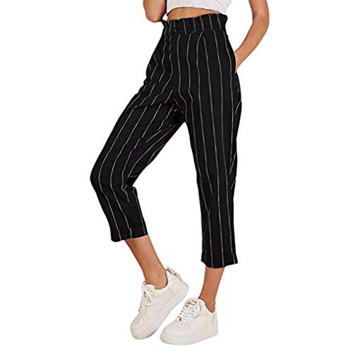 UFACE Damen gestreiften Knopf Casual Hosen gerade Beinhosen Leg Lässige Hose mit Taschen (XL/(42), Schwarz)