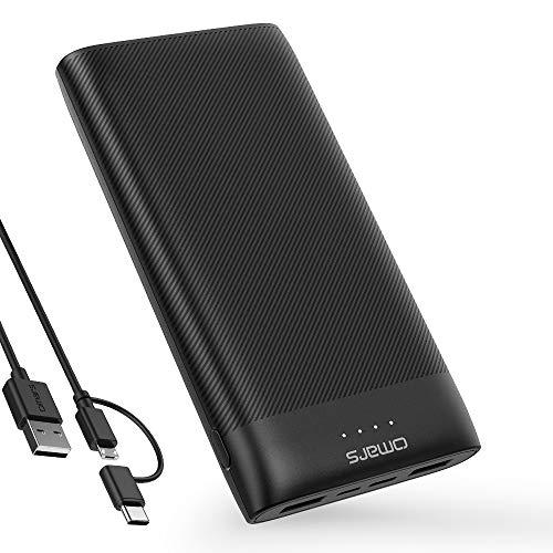 Omars Powerbank 20000mAh Tragbar Ladegerät 3 Ausgänge (2 USB-A 2.4A max & USB C 5V/3A) 2 Eingänge (Typ C & Micro USB) für iPhone 6 7 8 X Plus Samsung Galaxy S9 S8 S7 Huawei Handy iPad und mehr 20000 -