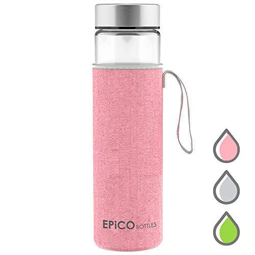 Trinkflasche Glas EPiCO BOTTLES Classic Glasflasche 600ml | Glasflaschen für Getränke, Smoothies, Tee | Wasserflasche | Water Bottle - BPA Frei | Ideal für Büro, Wandern, Unterwegs, Yoga, Sport
