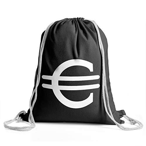 eutel - Sportbeutel/Gym Bag für Damen & Herren, Aus robuster Baumwolle, mit verstellbaren Kordeln (Euro Kostüm Schwarz) ()