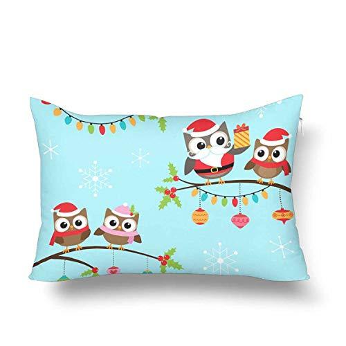 Guaone Eulen Weihnachts-Kostüme Zweige Nikolausmütze Kissenbezug Kissenbezug rechteckig Kissenbezug für Zuhause Couch Sofa Bettwäsche - Kissenbezug Eule Kostüm