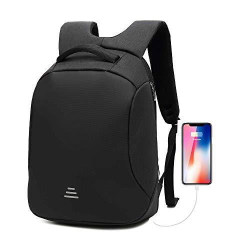 Business Laptop Rucksack mit Anti Dieb Reißverschluss und USB-Ladeanschluss Wasserdichte Reisen Backpack College Daypacks mit versteckten Fach für Männer und Frauen (a-Schwarz)