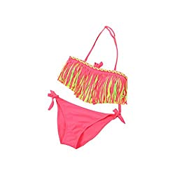 Rosennie 2 Pieces Baby Girls Summer Tassel Kids Nylon Swimsuit Bikini Set