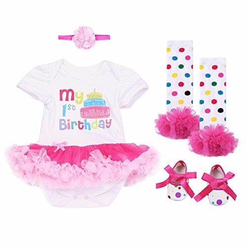 YiZYiF Baby Mädchen Kleidung Set 3 Stück Romper + Beinwärmer + Stirnband + Shuhe Tütü Kleid 1. Geburtstag Geschenk Outfits Verkleidung Kuchen mit Rose Rock 9-12 Monate (Verkleidung Outfits)