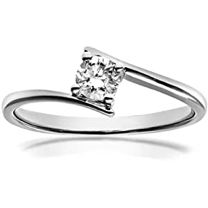 Naava 18 ct White Gold Crossover Engagement Ring, J/I1 Certified Diamond, Round Brilliant, 0.25ct