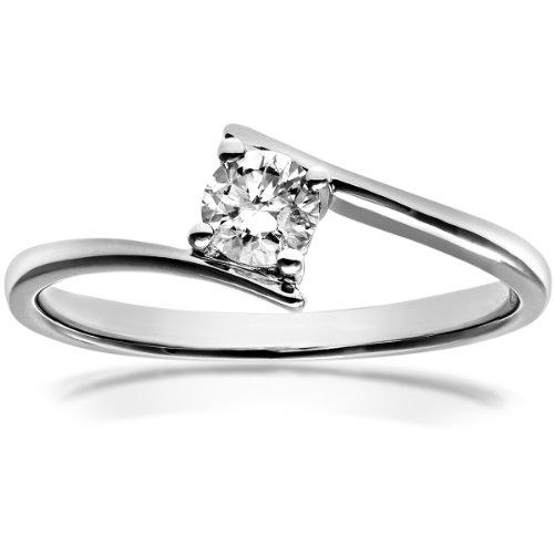 Certified Diamonds PR9159(M) - Anillo de mujer de oro blanco (18k) con 1 diamante (talla: 13)