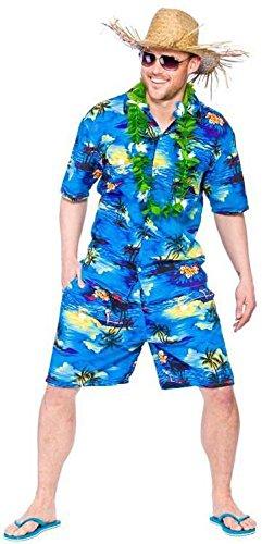 Mens Hawaiian Party Guy Luau Summer Beach BBQ Shirt & Shorts Fancy Dress Costume