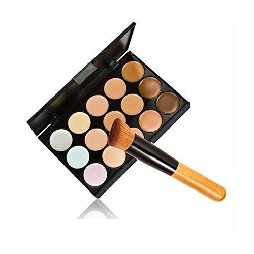 PIXNOR 15 Couleurs Palette de Maquillage Camouflage Correcteur + Pinceau à Poudre