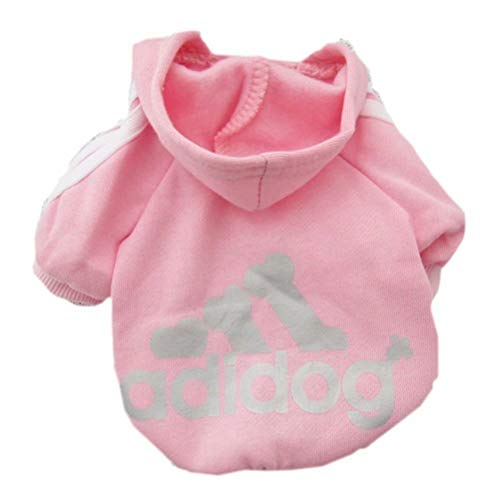 Scheppend Adidog Pet Dog Kleidung Wintermantel Jacket Cat Puppy Hoodie Pullover Baumwolle Kleidung für kleine Hunde(Pink,Gr.XS) - Pet-kleidung Für Kleine Winter Hunde