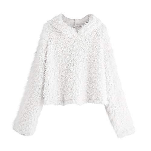 TWIFER Damen Langarm Plüsch Pullover mit Kapuze Rundhals Sweatshirt Bluse