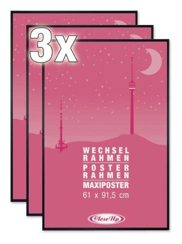 3er Set Posterrahmen / Wechselrahmen f. Maxi Poster / Qualitäts-Bilderrahmen v. Close Up® - 61x91,5cm schwarz - Acryl-Scheibe