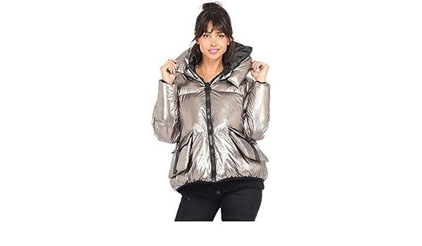 LAUREN VIDAL Metal Effect Down Jacket Women Silver: Amazon
