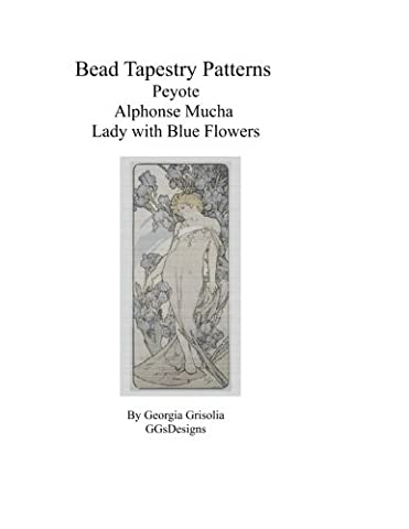 Bead Tapestry Patterns Peyote Alphonse Mucha Lady with Blue Flowers