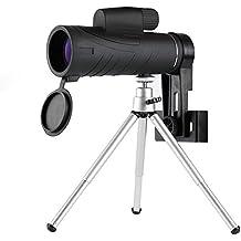 Telescopio telescopio impermeable 10X42 Telescopio HD con prisma de techo BaK4, soporte y trípode para teléfono móvil, diseño de enfoque con una sola mano para observacr los animales en lontananza o de aves caza de viaje Camping, partido de fútbol.