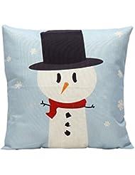 Navidad fundas de almohada, hmlai feliz Navidad cute dibujos animados decoración Festival funda de almohada Funda de cojín decoración para el hogar, 45CMX45CM, Azul