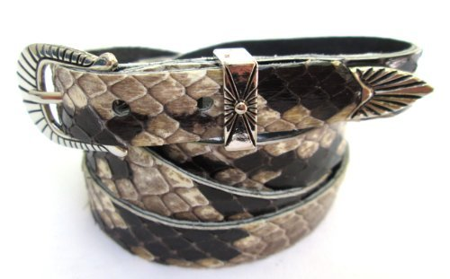 Western Hutband schwarz & weiß echtes Python Schlange Haut mit 3PC Schnalle Set -