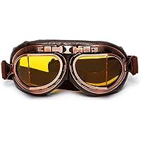 LEAGUE&CO Gafas de Moto Retro Vintage Gafas de Protección Gafas Piloto Gafas de Protección, Gafas de Aviador, Gafas para Casco, Amarillo