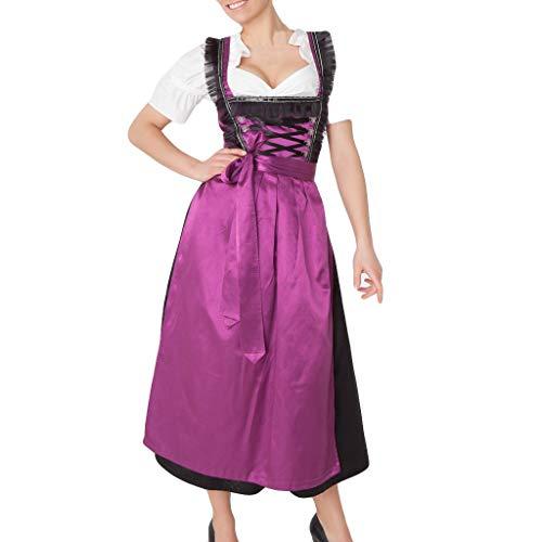 für Damen Frau Mädchen Oktoberfest Theme Maidservant Maid's Kleidung Cosplay Kostüme für Halloween Oktoberfest Carnival Lila M ()