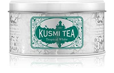 Kusmi Tea - Thé blanc Tropical White - Saveur Mangue Passion - Mélange conditionné en France - Boîté métal 90 tasses - Environ 35 tasses