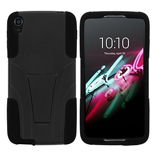 turtlearmor | Alcatel OneTouch Idol 3 Fall (14 cm) [Gel Max Cover] High Impact Proof Schutzhülle mit Ständer Silikon Hard Cover Combo Musik Design -, schwarz - Alcatel One Touch Camo