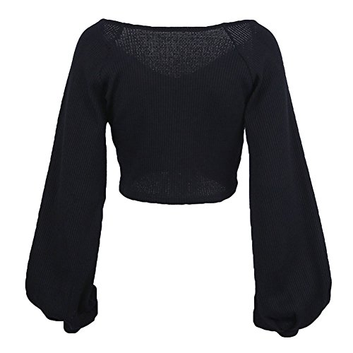 Juleya T-Shirts Femme Manchon Lanterne Blouse Court Tops Mode Chemisier Noir