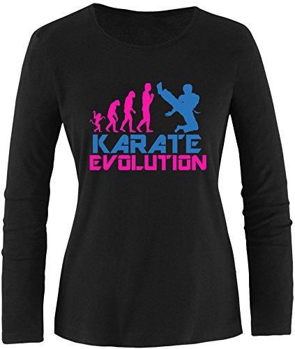 EZYshirt® Karate Evolution Damen Longsleeve Schwarz/Pink/Blau