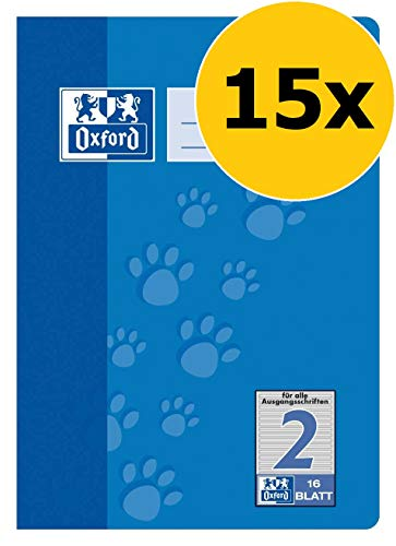 OXFORD 100050407 Schulheft Schule 15er Pack A5 16 Blatt Lineatur 2 (2. Klasse) blau (Papier Liniertes Klasse 2.)