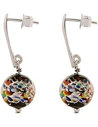 Amanti Venezia - Pendientes de cristal de Murano multicolor y negro