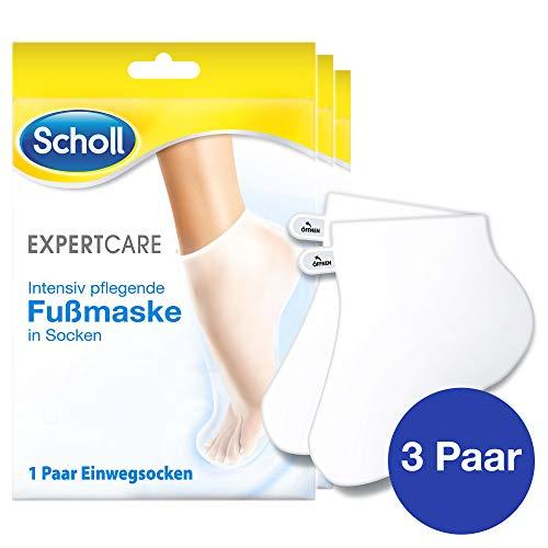 Scholl EXPERTCARE Intensiv pflegende Fußmaske in Socken - Feuchtigkeitsspendende Fußpflege für seidig weiche Füße - 3 Paar Einwegsocken