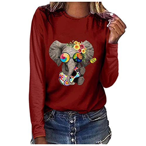 Sudadera Mujer - Casual Elefante Estampado Manga Larga Pullover Camisetas Tops - Mujer Blusa Tops Sudadera -ImpresióN Mujer Sudadera