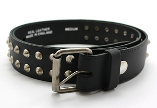 Conico Spike - Studded Belt. Cintura in vera pelle colore nero. Media e Grande Black M 106 cm
