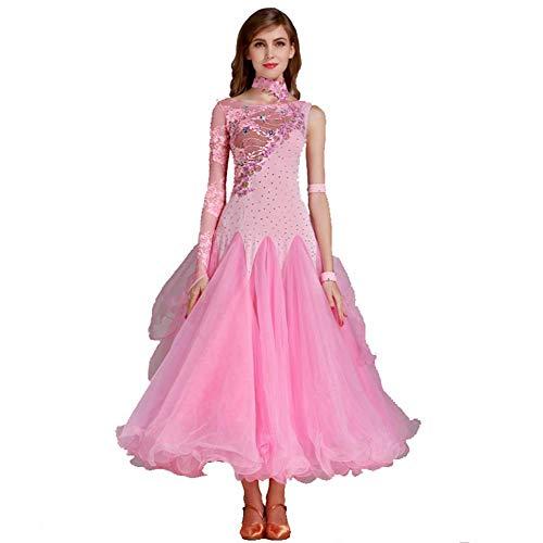 Gesellschaftstanz Dancewear für Frauen Performance Perspektive Mesh Stitching Smooth Waltz Tango Competition Kleider Trikot Foxtrot Dance Kostüme,Pink,S