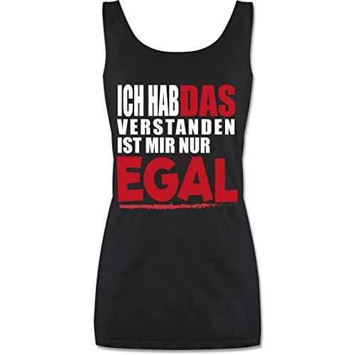 Statement Shirts - Ich hab das verstanden ist Mir nur egal - S - Schwarz - P72 - Tanktop für Damen und Frauen Tops