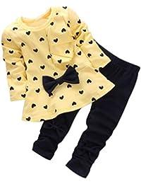 Muchachas del bebé de Hiroo 2pcs Calidad de manga larga en forma de corazón blusa de impresión Pantalones cortos gruesos de Soft Comfort Ideal para una sesión de fotos diaria