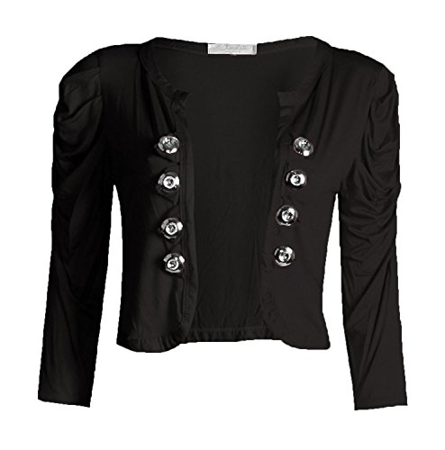 Fast Fashion - Plaine Manches 3/4 Froncées Style Militaire Bouton Boléro Haussement D'épaules - Femmes Noir