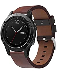 Malloom Correa de PU cuero de lujo reloj de reemplazo banda con herramientas para reloj Garmin Fenix 5 GPS …