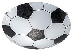 Idea Regalo - Trio 6160011-00 Pallone da Calcio Plafoniera, 30 cm, in Vetro Opale, Bianco/Nero, lampadina a incandescenza