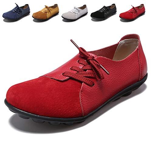 Hishoes Damen Mokassin Bootsschuhe Leder Loafers Fahren Flache Schuhe Halbschuhe Slippers Erbsenschuhe, 39 EU=Etikettengröße 39