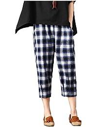 56bb104132 Pantalones Mujer Elegantes Moda Pantalon Lino A Cuadros con Elastische  Taille Cintura Media Joven Bastante Anchos 7 8 Pantalones Pantalones…