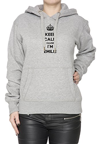 keep-calm-cause-im-emilie-mujer-sudadera-con-capucha-pullover-gris-algodon-womens-hoodie-sweatshirt-