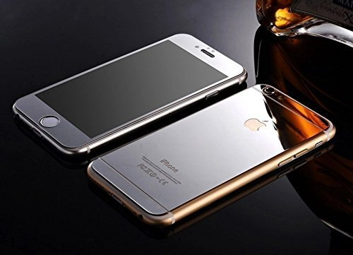 Galaxy Electroplated Mirror Front + Back Tempered Glass Screen Protector For Apple iPhone 6,6S - Silver