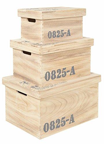 Set di 3 cassette in legno Boxes Custodia Libri Frutta- legno - colore legno naturale
