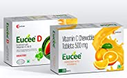 Eucee chewable Vitamin C -500 mg(orange) with vitamin D 5000IU(watermelon) (120 tablets)(1+1 offer)