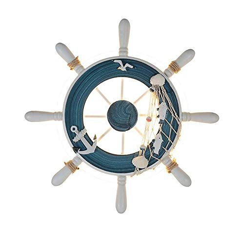 ACZZ Retro Kreative Ruder Lenkrad Wandleuchte Vintage Harz Hanfseil Led Wandleuchte Nautischen Stil Männlichen Mädchen Kind Raumbeleuchtung Dekoration Schlafzimmer Nachttischlampe,Blau