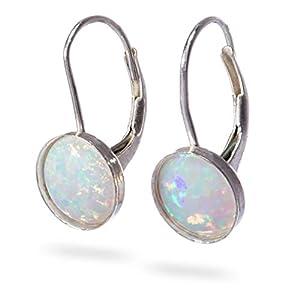 Opale ohrringe Opal baumeln Ohrring Runde 8 mm Sterling Silber Brisur Ohrringe