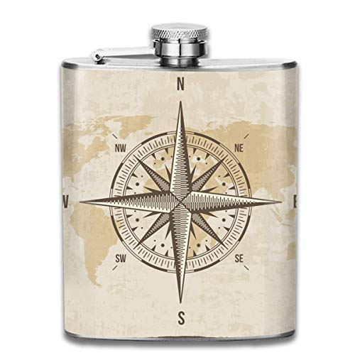 Vintage Nautical Compass Old World Map 0 Wine Flasks Hip Flask with Funnel Stainless Steel 7 OZ Multicolor
