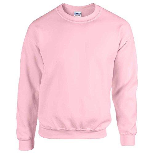Gildan, felpa morbida, da adulto, scollo rotondo, 50/50 cotone e poliestere, tinta unita Rosa - Light Pink
