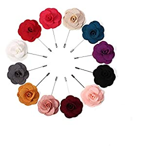 Herren Revers Flower Pin Rose für Wedding Boutonniere Stick, verschiedene Farben (12er PINS)