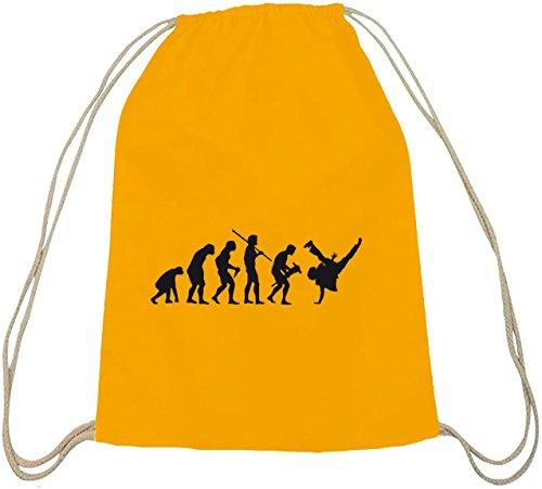 Shirtstreet24, EVOLUTION BREAKDANCE, Hip Hop Breaker Baumwoll natur Turnbeutel Rucksack Sport Beutel gelb natur